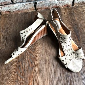 CLARKS ARTISAN Suede Taupe Studded Wedge Shoes 7.5